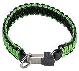 TierXXL.de Herm. Sprenger Paracord Halsband mit ClicLock, Farbe: schwarz/grün, Halsumfang: 55cm (59343 055 00)