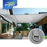 sunprotect 83239 Professional Sonnensegel, 6 x 4 m, rechteckig, wind- & wasserdurchlässig, grausilber
