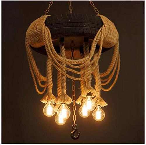 TLHWNM Lampadario di Corda di Canapa, Retro Stile Industriale Soggiorno Sala da Pranzo lampadario Corda di Canapa Pneumatici Interni Illuminazione