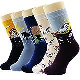 Neuheit Socken Baumwolle Crew Einhorn Eule Katze Bauernhof Prinzessin Meerjungfrau Socken - Cartoon Tier Socken - 5 Pack Weihnachtssocken Geschenkbox (Unicorn Geschichte Socken)
