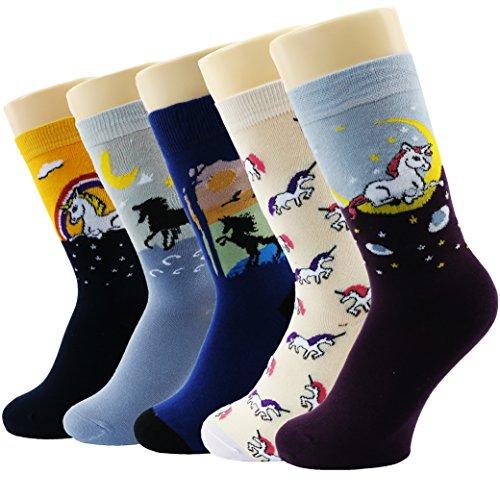 Novedad calcetines de algodón Tropa Unicornio Buho Gato Granja Princesa Sirena- Paquete de 5 Calcetines de Navidad Tamaño De La Caja De Regalo 37/41 (Historia De Gato)