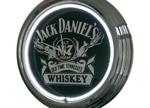 Neon Uhr Jack Daniel´s Wanduhr Deko-Uhr Leuchtuhr USA 50's Style Retro Uhr Neonuhr (Neon Uhr)