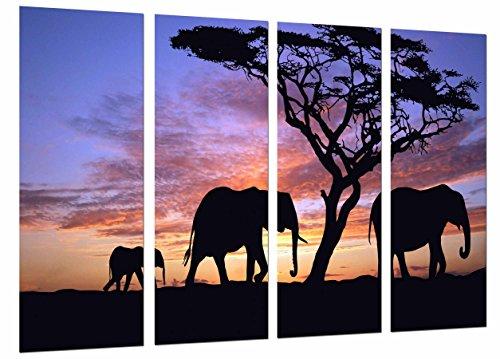 Cuadro Moderno Fotografico Atardecer en el Desierto, Animales, Elefantes, 131 x 62...