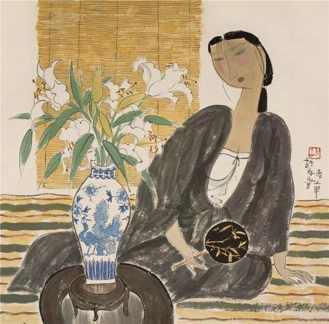 the-high-quality-polyster-canvas-of-oil-painting-hu-yongkaiwoman-with-lilies21th-century-size-30x30-