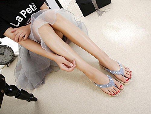 Mulher Sandálias Azuis Pendurar Com Plataforma Chinelos E Dias Inferior Sapatos Pesados Lantejoulas sapatos Femininos Antiderrapante rrqCwxB5