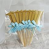 zantec 100ersten Geburtstag Dekorationen Anzahl 1Cupcake Topper Boy Girl 1. Jahr Party Decor Blue ribbon with gold