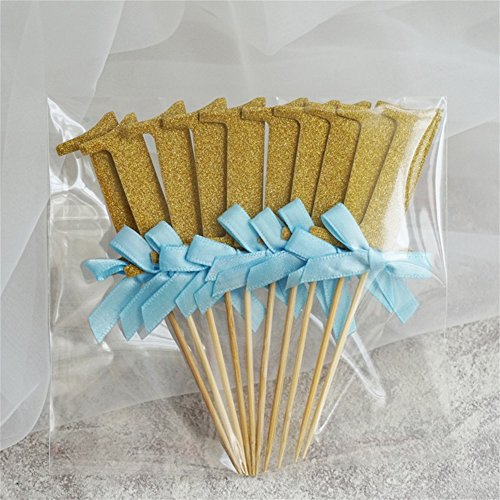 zantec 100 ersten Geburtstag Dekorationen Anzahl 1 Cupcake Topper Boy Girl 1. Jahr Party Decor Blue ribbon with gold