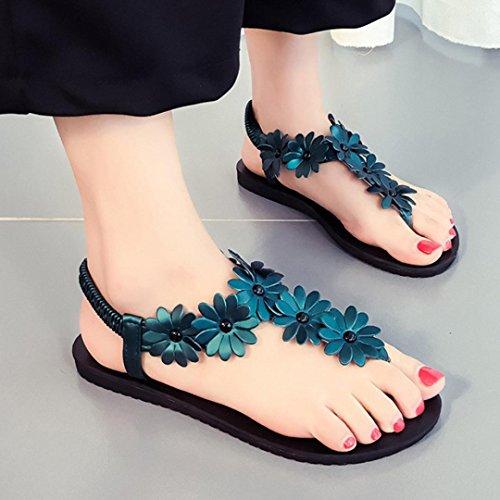 Ouneed® Damen Sandalen , Damen Sommer Bohemia Frauen flache Schuhe Perlen Böhmen Freizeit Sandalen Peep-Toe Flip Flops Schuhe Grün