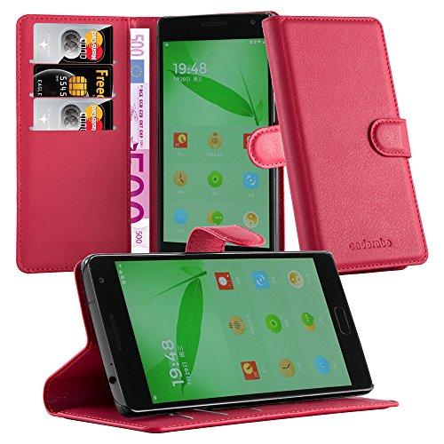 Cadorabo Hülle für OnePlus One 2 Hülle in Karmin Rot Handyhülle mit Kartenfach & Standfunktion Case Cover Schutzhülle Etui Tasche Book Klapp Style Karmin-Rot