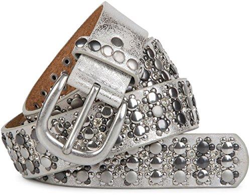 styleBREAKER edler Nietengürtel im Vintage Design mit echtem Leder, Nieten und Strass, kürzbar, Damen 03010052, Farbe:Antik-Silber;Größe:100cm