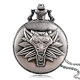 Baoleiju - Reloj de Bolsillo con diseño de Lobo con Cabeza de Totem Final Fantasy, Collar Colgante con joyero, Largo Collar Final Fantasy para Mujeres y Hombres (Negro)