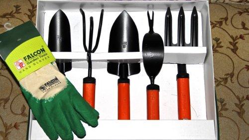 Falcongardening 5 Pcs. Set & Gardening Gloves