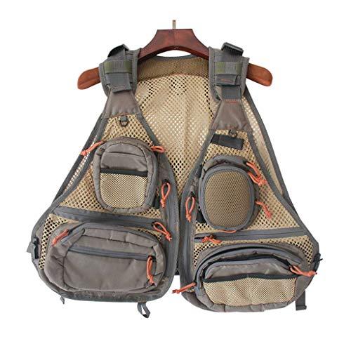 Multi Pockets Fliegenfischen Weste,Outdoor Angeln Netz Atmungsaktivität Vest Camping Gile