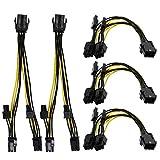 HSeaMall 5 STÜCKE 6 Pin zu 2 x PCIe 8 (6 + 2) pin Netzteil Kabel Grafikkarte PCI-e Express VGA Splitter Strom Verlängerungskabel Computer Zubehör (6 Pin to 2 x PCIe 8 (6+2) Pin)