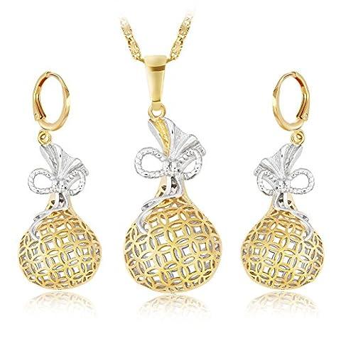 Diamond necklace/Gemstone earrings/Retro/ palace style/Set(necklack / earrings)-A