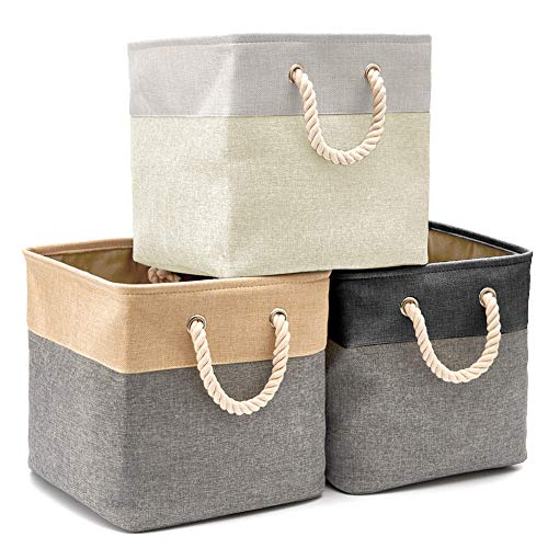 EZOWare Cajas de Almacenaje, 3 Pcs Cesta Organizador Cubos de Tela Plegable...