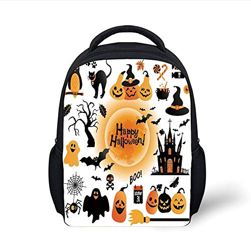 Kids School Backpack Halloween Decorations,All Hallows Day Objects Haunted House Owl and Trick or Treat Candy,Orange Black Plain Bookbag Travel Daypack