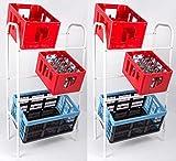 HAC24 2er Set Getränkekistenregal Kastenregal Weiß Flaschenkastenregal Kistenregal Kistenständer Getränkeständer Kastenständer
