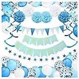 Decorazioni per Feste di Compleanno Bambino - 59 Pz con Striscione Happy Birthday, Pompon, Palloncini a Coriandoli, Palloncini, Bandierine Colorate, Spirali e Ghirlanda - Set Blu e Bianco per Bimbo