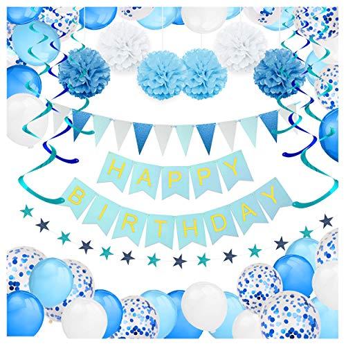 orationen - 59 Stück - inkl. Banner, Pompons, Luftballons, Konfetti-Luftballons, Wimpelkette, Wirbel- und Girlande-Dekorationen - Blau und Weiß Party-Set für Jungen ()