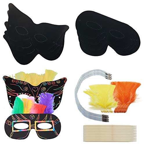 Kratzmasken für Kinder-Party, 10 schwarze Superhelden-Partymasken mit farbiger Feder, elastischer Riemen für Kostüme, Geburtstag, Party, Halloween, Gastgeschenke, Kinder-Requisite, Bastelarbeiten B