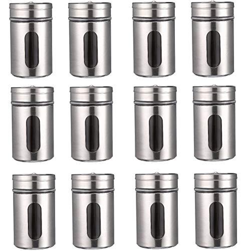 12 Gewürzdosen Silber I Gewürzstreuer Edelstahl Set 80ml I Mit Sichtfenster & 3 fach Streuregulierung I Gewürzgläser für Gewürze/Kräuter