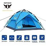 Bird-Watcher Camping Zelt Pop up Outdoor Zelt Automatische Wurfzelt Leicht Trekkingzelt Familienzelt für 3-4 Personen, Doppeltüren und 3-Jahreszeiten-Zelt, Inklusive Tragetasche,Blau