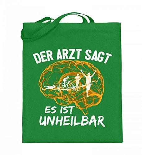 Hochwertiger Jutebeutel (mit langen Henkeln) - Triathlon - Es ist unheilbar Light Green