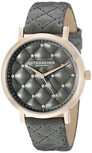 Stuhrling Original Audrey - Reloj de Cuarzo, para Mujer, con Correa de Cuero, Color Gris