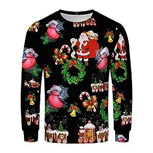 EUZeo Herren Weihnachts Pullover Mit Rundhals Und Weihnachtsmotiv Druck Christmas Casual Weihnachten Langarmshirt Oberteile Schneemann Weihnachtsmann