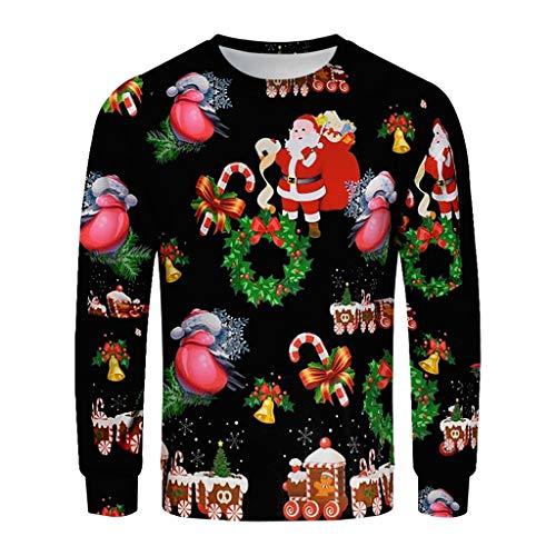 Zylione Unisex Weihnachtpullover 3D Druck Sport Sweatshirt Christmas Snowman Print Langarm Pullover Xmas Party Jumper Tops Lustige Santas Outwear