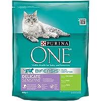 Purina ONE Bifensis Digestión Sensible Pienso para Gato Salmón y Cereales - Pack de 8 x 800 g - Total 6400 g