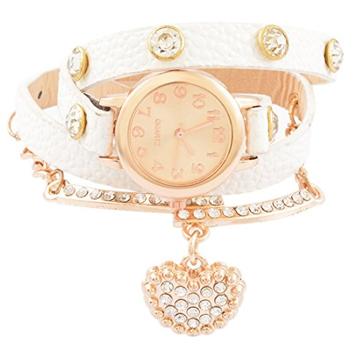 6fbd6c742cac85 MJartoria Damen Vintage Armbanduhr Boho Uhr Lederarmband Wickelarmband  Quarzuhr Weiß