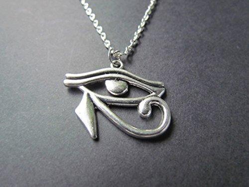ODETOJOY Collier avec pendentif œil d'Horus, œil oudjat, Égypte Antique, Chaîne 55 cm