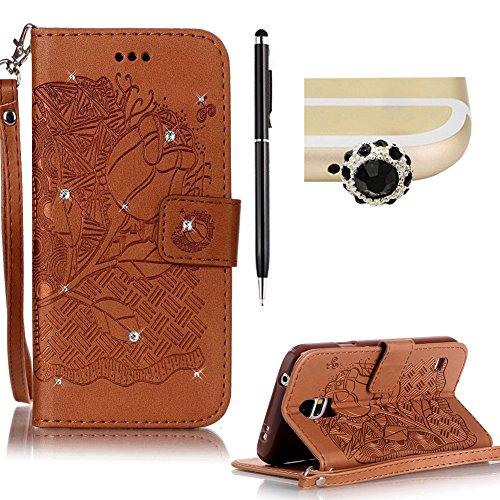 SKYXD für Samsung Galaxy S5 Hülle Leder Rose Blumen Drucken Muster,Brieftasche Klappbar Glitzer Strass PU Folio Schutzhülle [Kartenfach / Magnet / Standfunktion / Trageschlaufe] Inner Silikon Klapphülle mit [Handyanhänger + Eingabestift] 3 in 1 Zubehör Handy Tasche Etui for Samsung Galaxy S5 Bookstyle Flip Case Leather Cover With [Stylus and Dust Plug]- Braun (Galaxy S5 Geld Drucken Cover)