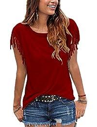 Las Mujeres Verano Casual Cuello Redondo Manga Corta con Flecos Sueltos T Shirt Top tee, Plus Size