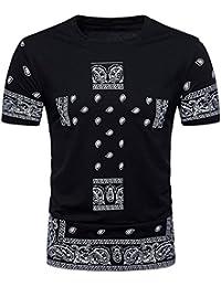 Blouse T-Shirt Imprimée Hiphop Hommes Casual Slim Manches Courtes Malloom