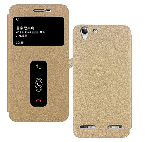 Heartly GoldSand Sparkle Luxury PU Leather Window Flip Stand Back Case Cover For Lenovo Vibe K5 Plus / Lenovo Vibe K5 - Hot Gold