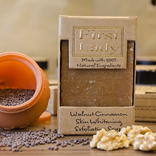 First Lady - Handmade Walnut Cinnamon Turmeric Skin Whitening Exfoliating Soap 125g