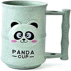 Ankamal Elec Eco-Friendly Taza de Paja de Trigo Creativa Inicio Tazas Vaso de Cocina de plástico Copa Tazas de Baño Taza de café Panda Copas tridimensionales (Green)