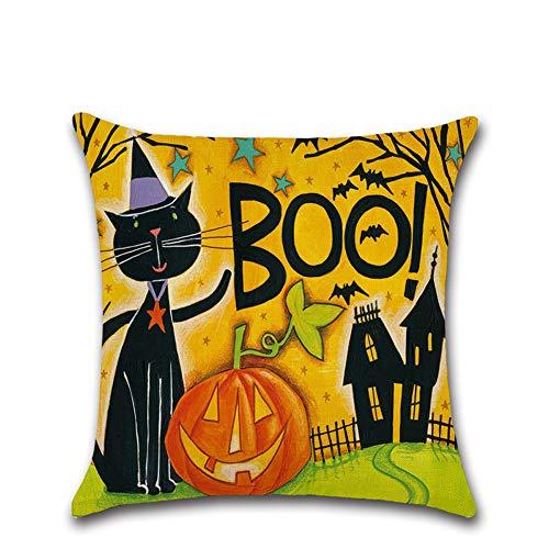 Halloween Deko Grusel Dekoration Set 45 * 45 cm Halloween Cartoon Kürbis Leinen Kissen Fall 202 Typ 1 Pack für Halloweendeko Make-up-Party Halloween Dekoration