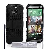 Yousave Accessories Cover Per HTC One M8 (2014) Custodia Duro Silicone Combo Basamento Nero e Cavo Micro USB
