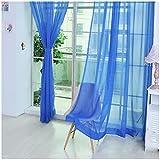 curtains - SODIAL(R)Wear rod Solid color Shalian cut off window screening Blackout curtains Dark blue