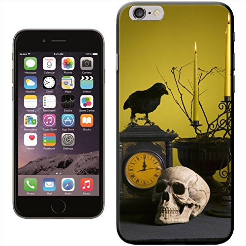 Halloween crâne Coque arrière rigide détachable pour Apple iPhone modèles, plastique, Spooky Skulls Black Crow, iPhone 6 Creepy Table Decorations