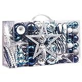 Valery Madelyn Palline di Natale 100 Pezzi Cm Baule di Natale in Plastica Decorazione Natalizia con Punta di Albero e Appendiabiti Coordinato Decorazioni per Albero di Natale Argento Blu