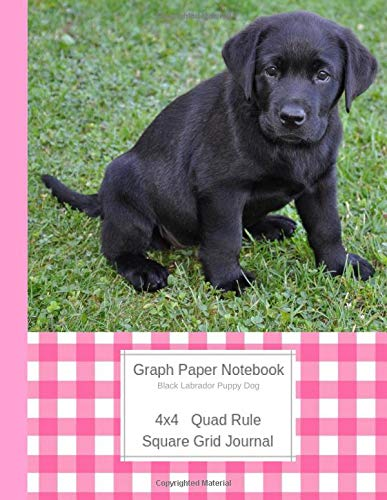Graph Paper Notebook Black Labrador Puppy Dog: Large Quad Rule 4x4 Square Grid Journal (Graph Paper 4x4 Book, Band 5) -