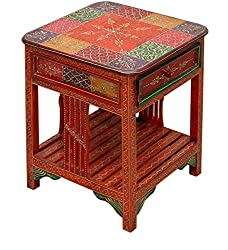 Theshopy Wooden Hand Made Hand Painted Side Table With 1 Drawer A523