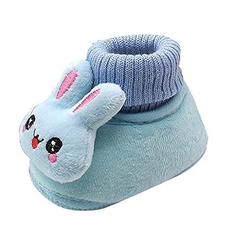 Tefamore nouveau-né baby cartoon chaussures soft sole warm chaussures (12, Bleu)