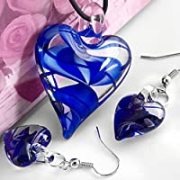 Skyllc Heart Blue Lampwork Glass Bead Pendant Earrings CHIC