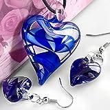 Kitchen & Housewares : Skyllc® Heart Blue Lampwork Glass Bead Pendant Earrings CHIC